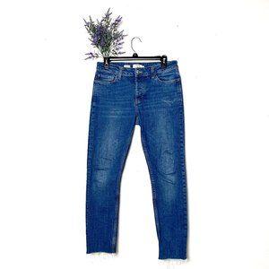 Blue Top Man Raw Hem Button Fly Denim Skinny Jeans